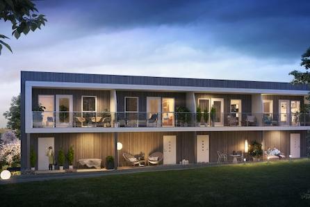 Sørumsvingen // Moderne rekkehus med 2 stuer, 3 sov. og garasje. Gangavst. til togstasjon og sentrum. Gravingen er igang