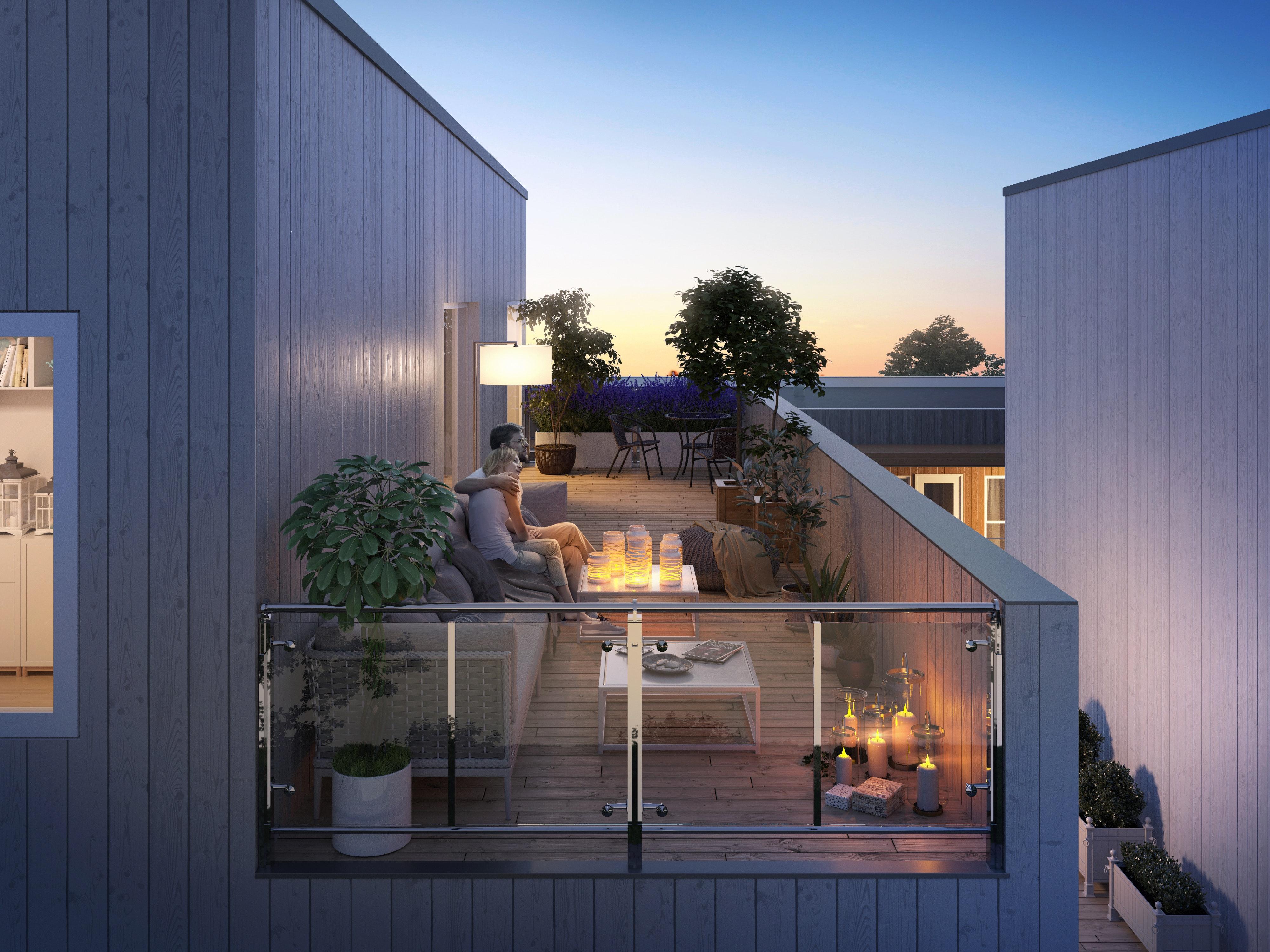 Sørumsvingen // Nye, moderne tomannsboliger i kjede med store takterrasser, 2 store stuer, 3 sov. og garasje. 1 solgt !