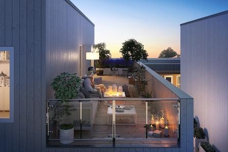 Sørumsvingen // Nye, moderne tomannsb. i kjede. Store takterrasser, 2 store stuer, 3 sov. og garasje. Gravingen er igang