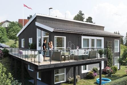 Ulleråsen - Prosjektert enebolig-5 sov- 3 bad- m/hybel, stor terrasse og fantastisk utsikt mot fjorden