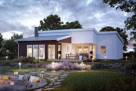 Ullensaker/Jessheim: Moderne familiebolig på ett plan|lun uteplass med tak|3 sov|egen TV stue|vannbåren varmekampanje