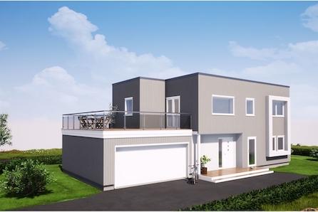 Kløfta/Borgen: Arkitekttegnet enebolig tilpasset tomt|3 sov|2 stuer|takterrasse|dobbel garasje|nært skole og barnehage