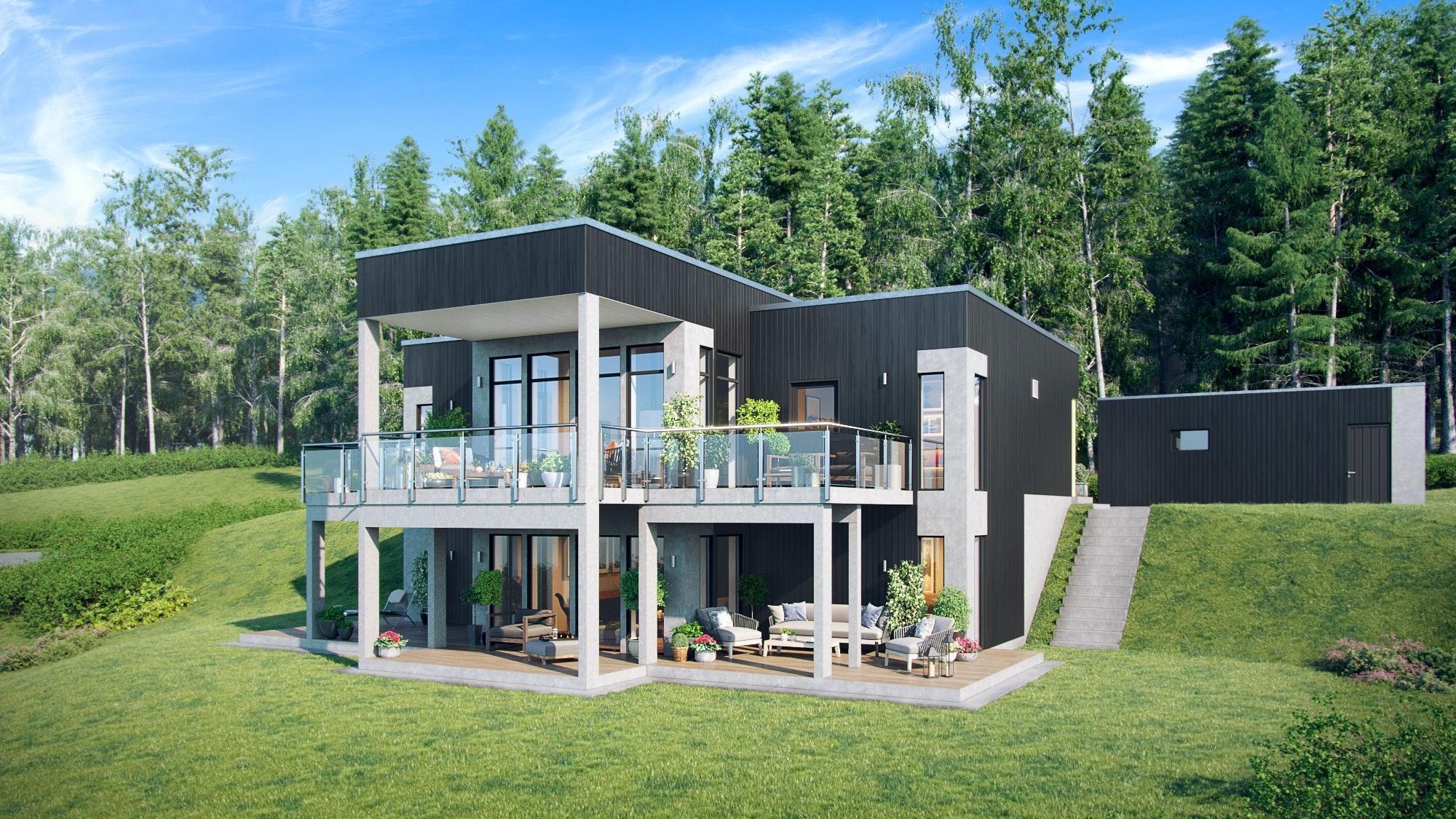 Bogeråsen - Kongsvinger. Ny moderne enebolig med panoramautsikt nære marka
