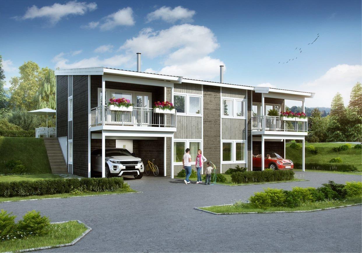Tråstad - Halvpart av ny tomannsbolig i sentrum med platting, balkong og carport.