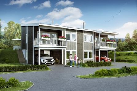 Tråstad - Ny halvpart tomannsbolig med carport! Kun en leilighet igjen! Bygging er i gang!