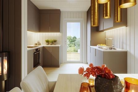Moderne bolig med stor terrasse og mulighet for 4 soverom eller egen TV stue.
