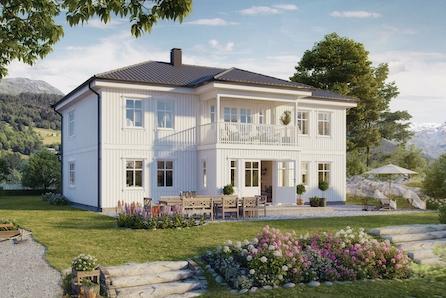 2 stuer, stort kjøkken og 5 soverom. Flott mulighet i nyetablert boligområdet.