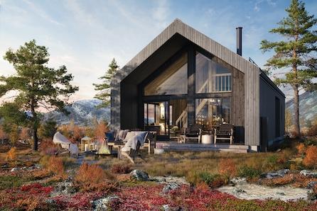 Gamle byggeskikker møter moderne arkitektur-Miljøvennlig hyttekonsept V2 med vedlikeholdsfrie materialer- gulvareal 94m2