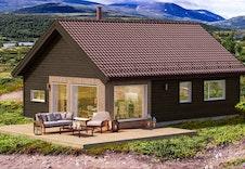 Raudfjellet - dette er kun en illustrasjon av en tenkt hytte på tomten. Illustrasjonen vil vike fra virkeligheten og gjengir ikke korrekt tomt og beliggenhet
