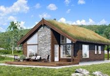Gråhø - dette er kun en illustrasjon av en tenkt hytte på tomten. Illustrasjonen vil vike fra virkeligheten og gjengir ikke korrekt tomt og beliggenhet. Pris er inkl shingel tak, -torvtak mot tillegg. redigert