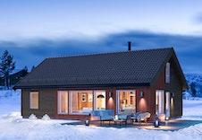 Storåsen - dette er kun en illustrasjon av en tenkt hytte på tomten. Illustrasjonen vil vike fra virkeligheten og gjengir ikke korrekt tomt og beliggenhet