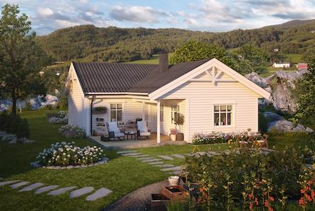 Ny enebolig alt på et plan. Overbygd veranda.