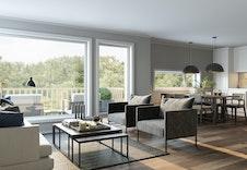 Illustrasjon av stue og kjøkken.