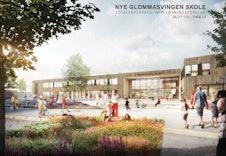 Illustrasjon av den nye skolen på Skarnes for 1- 10. trinn som i følge kommunen tas ibruk august 2019.