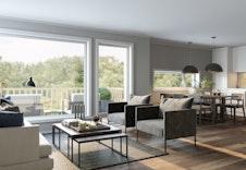Illustrasjon innvendig stue/kjøkken.