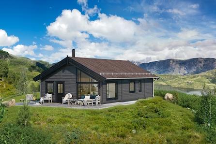 Moderne familiehytte plassert i øvre delen av Renåfjellet. - Prosjektert råbygg.
