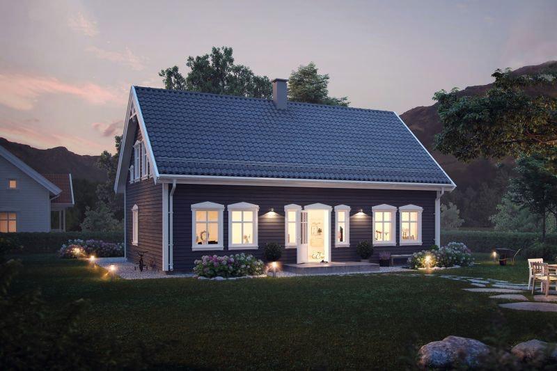 Sjarmerende hus for familien med smart planløsning på flott sørvendt tomt på Kvennstøa.
