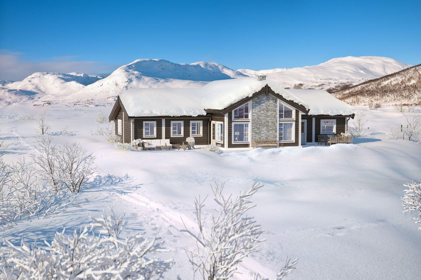 Storstuggu i Rondeblikk. Staselig hytte prosjektert på en av topp tomtene i nytt felt i Folldalen. Direkte utsyn mot Rondane.