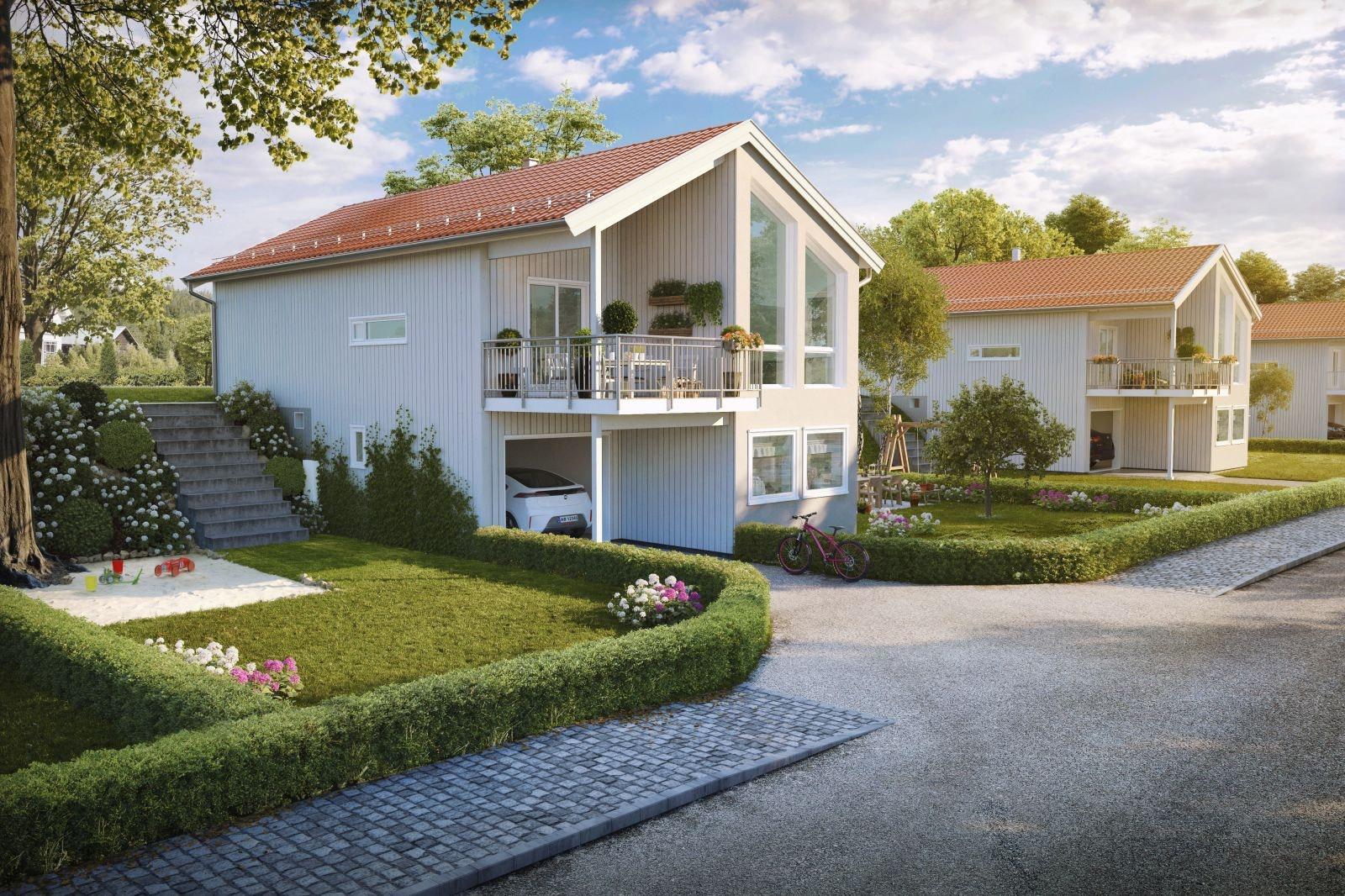 BYBRUA - Moderne og stilige Berga med 3 soverom - Garasje med direkte adkomst til huset.