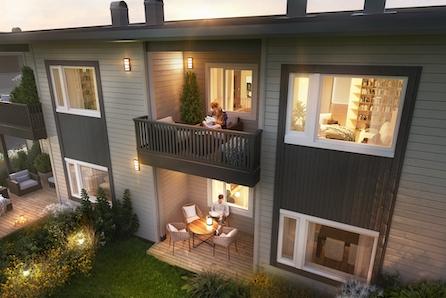Moderne leiligheter på Heggenskogen med vannbåren varme, 4-mannsbolig med 2 soverom og god solgang.