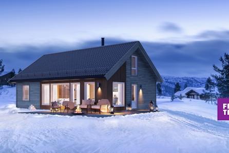 SKEIKAMPEN -  Prosjektert hytte med stor hems for ekstra sengeplasser. Tomt, grav og betong inkl.!