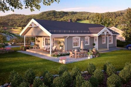 Innholdsrikt hus på ett plan - 3 soverom - romslig stue/kjøkken løsning.