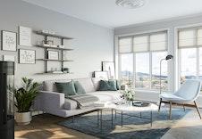 Illustrasjon av interiør. Det gjøres oppmerksom på at det kan forekomme avvik. Møbler følger ikke med.