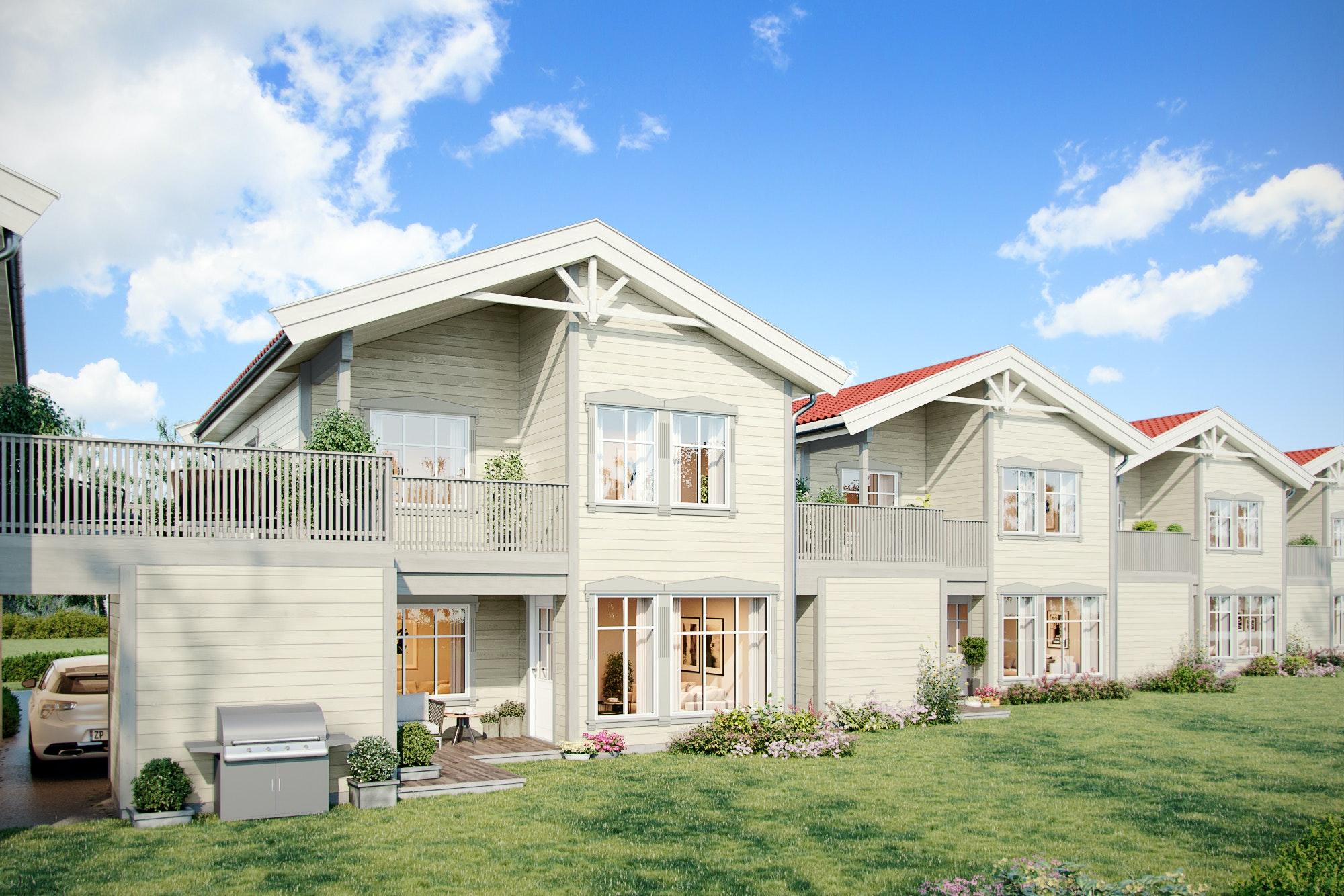 Nøkkelferdig! Planlagt kjedet enebolig med 3/4 sov, gode solforhold og stor terrasse.