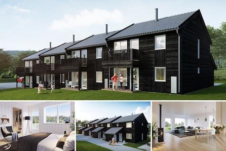Jaren - Lettstelte og moderne rekkehus på 123 kvm over to plan. Walk-in-closet, 3-4 soverom og 2 bad. Gode buss- og togforbindelser. 1 time fra Oslo.