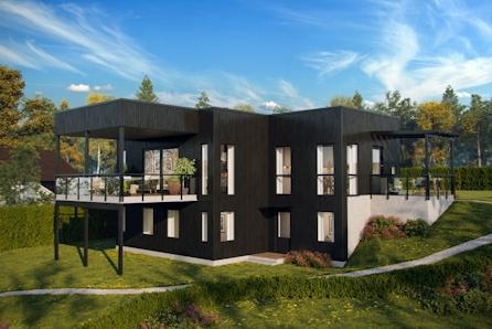 HAUG. Råstilig arkitekttegnet funkishus i hjertet av Haugsbygd. Solrikt på vestvendt tomt.