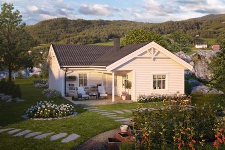 Hallingby. Nytt og solfylt boligfelt på Søndre Kirkemoen. Aksheim er et klassisk og smart hus - alt på en flate!
