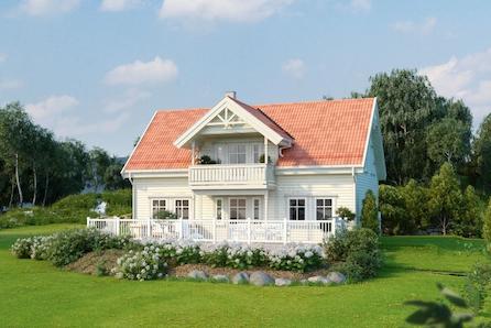 SOKNA. En vakker familiebolig på solrik tomt. Loftstue, bad i begge etasjer og utgang til terrasse fra stor stue.