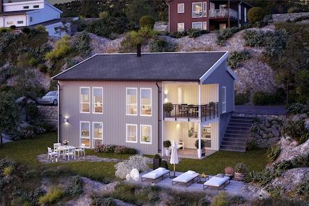 Tyristrand. Moderne familiebolig med store rom og fine uteplasser.