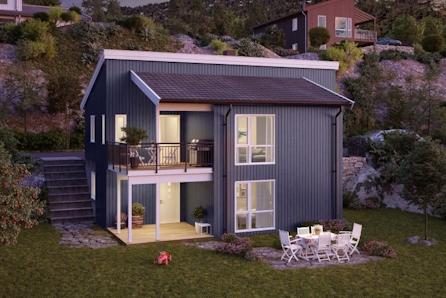 Moderne familiebolig tilpasset flott utsiktstomt mot Tyrifjorden
