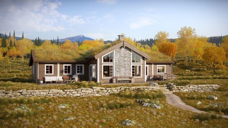 Storslagen prosjektert hytte på tomt flott beliggende på Myrland, med gode solforhold og utsikt til Hallingskarvet