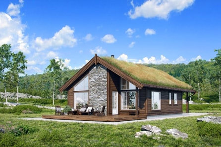 Veggli/Rustvegen Vest - Hytte med hems. 88 m2 gulvareal. Solrikt med flott utsikt mot Hardangervidda. Kan tilpasses.