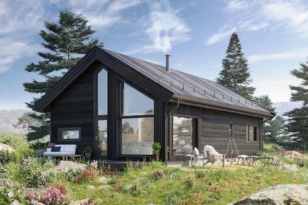 Veggli/Rustvegen Vest - Komplett hytte med høy standard. Hytta har et totalt gulvareal på 93 m2.
