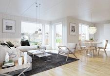 Illustrasjon av stue. Store vindusflater og åpen romløsning
