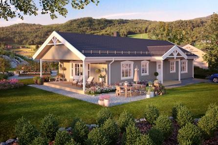 HOF - Prisgunstig enebolig med overbygget terrasse - Nydelig utsikt - Solrikt - Ta kontakt for visning!