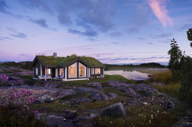 Nystulvannet- Romslig hytte med 3 soverom og hems. Solrikt  og flott utsikttomt på over 3 mål!