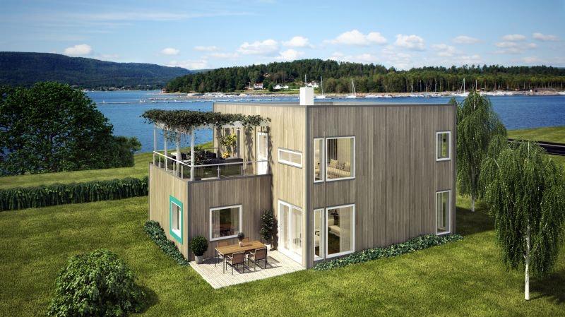 Moderne enebolig med sjøutsikt og gode solforhold. Sandstrand i nærheten og mulighet for kjøp av båtplass