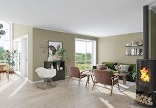 Innbydende stue med store vinduer, legg merke til takhøyden i spisestuen! (illustrasjon).