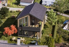 Illustrasjon av bolig som er prosjektert på tomten, kan unnvike fra virkelighet