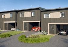 Inngangssiden av bygg 1 med hus 1 helt til høyre *Illustrasjon vil avvike fra virkeligheten