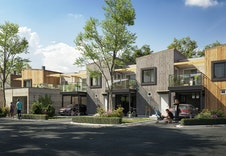 Fasader ved inngangsparti - hus 6 er helt til høyre *Illustrasjon vil avvike fra virkeligheten
