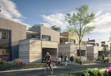 Fasader ved inngangsparti - hus 1 er helt til venstre *Illustrasjon vil avvike fra virkeligheten