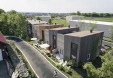 Fasader ved baksiden- hus 1 er helt til høyre *Illustrasjon vil avvike fra virkeligheten