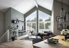 Illustrasjon luftig stue hus 1-5