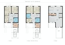 Planløsning hus 1-5 -  og alternativ løsning med eget vask/wc- tillvalg