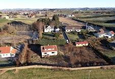 Oversikt over de 3 eiendommene. Før oppstart grunnarbeid.